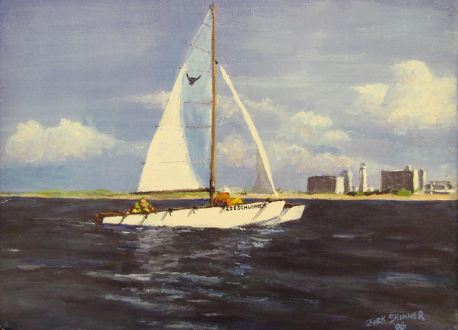 Sailboat Painting - Sailing In The Netherlands by Jack Skinner