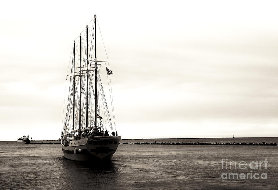 Boat Photograph - Sailing Lake Michigan by John Rizzuto
