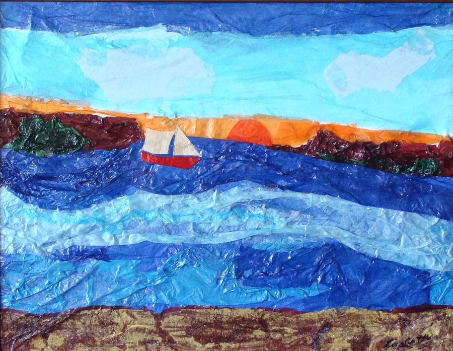 Tissue Paper Mixed Media - Sailing by Lisabeth Billingsley