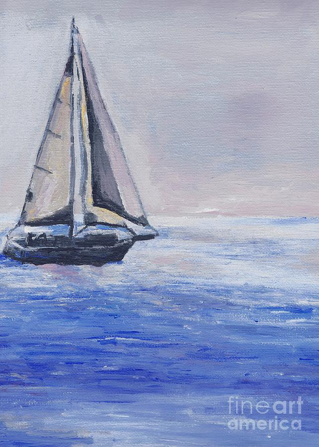 Sunset Painting - Sailing Off Cape May Point by Eric  Schiabor