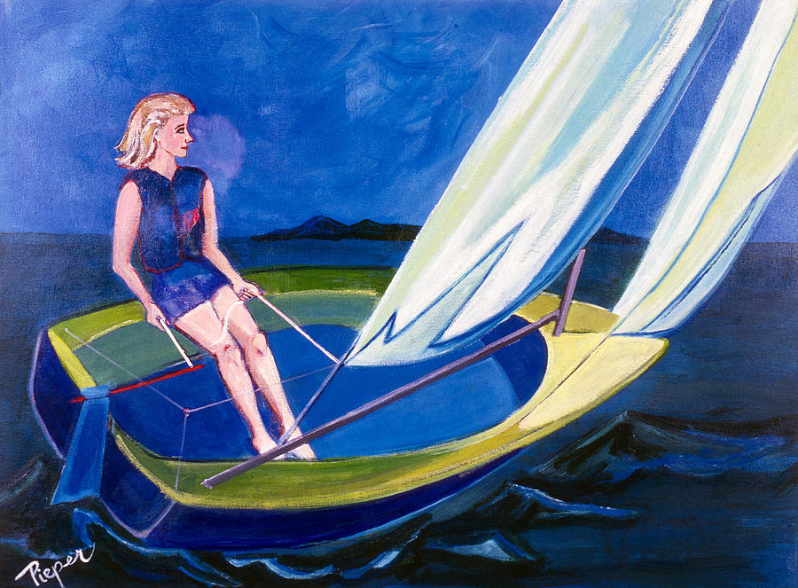 Sailing Painting - Sailing Off Nantucket by Betty Pieper