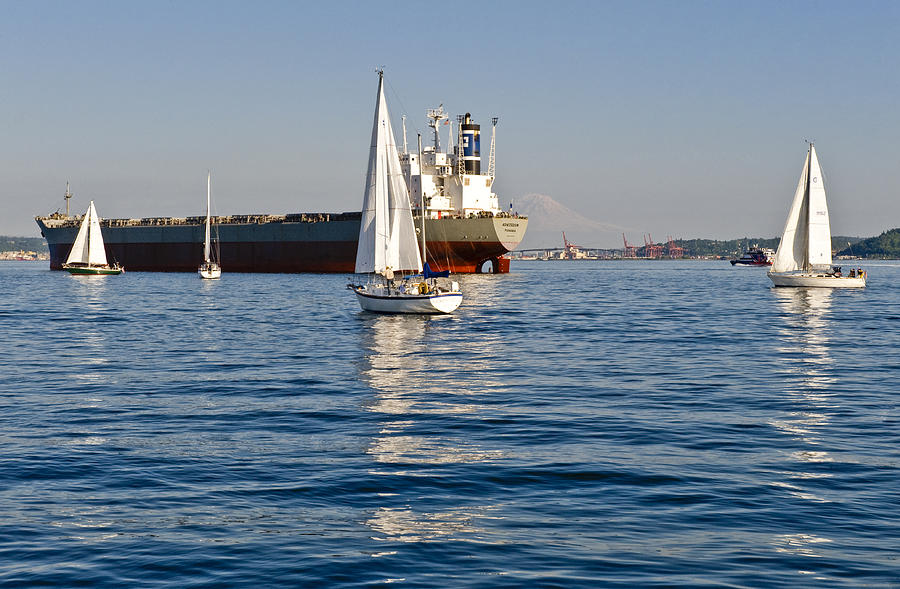 Seattle Photograph - Sailing On Elliott Bay by Tom Dowd