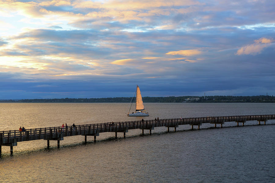 Bellingham Photograph - Sailing on the Bellingham Bay during Sunset by David Gn