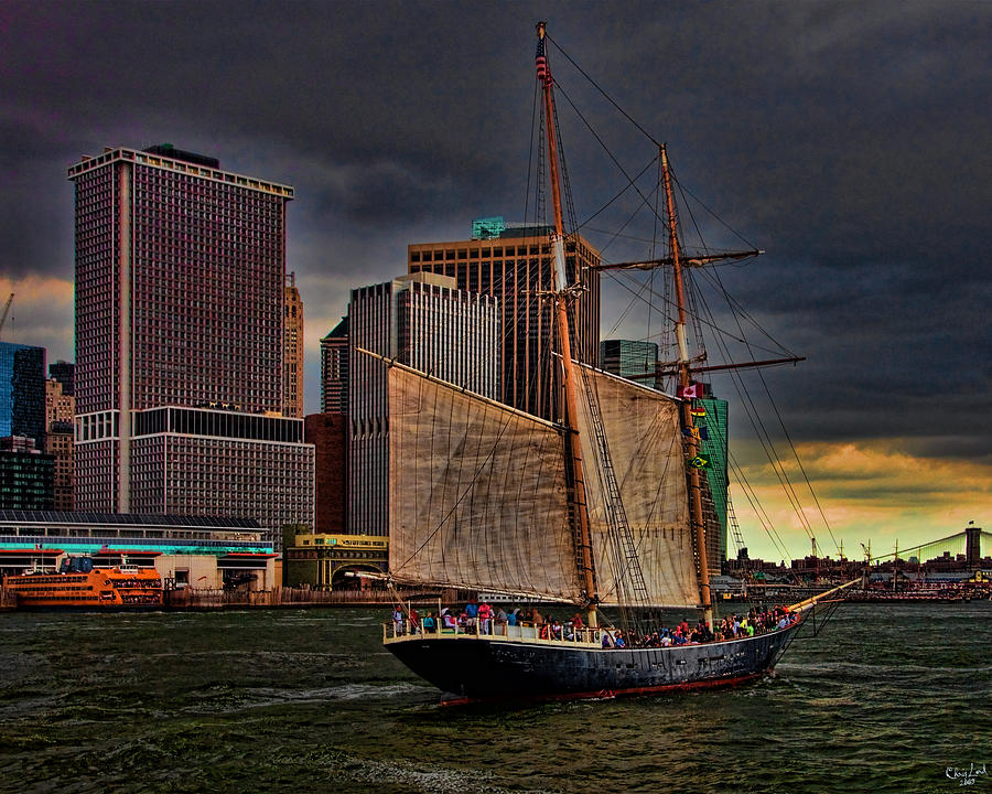 New York Photograph - Sailing On The East River by Chris Lord