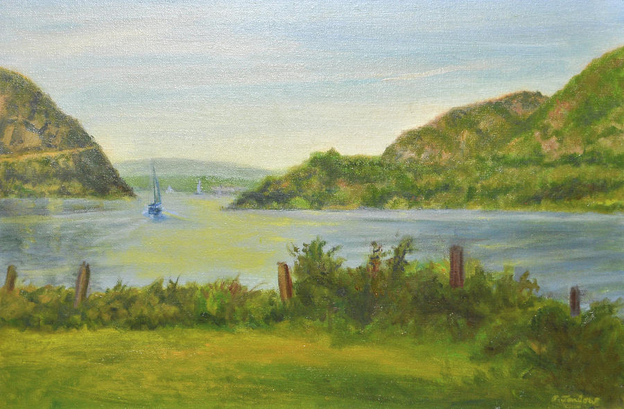 Landscape Painting - Sailing Past Cold Spring by Phyllis Tarlow