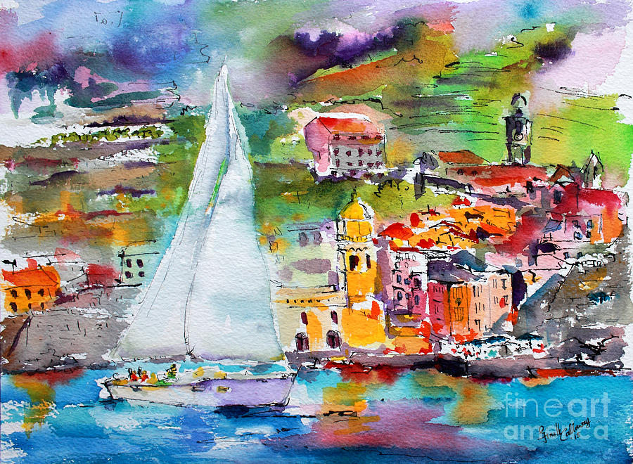 Sailing Past Vernazza Italy Painting by Ginette Callaway