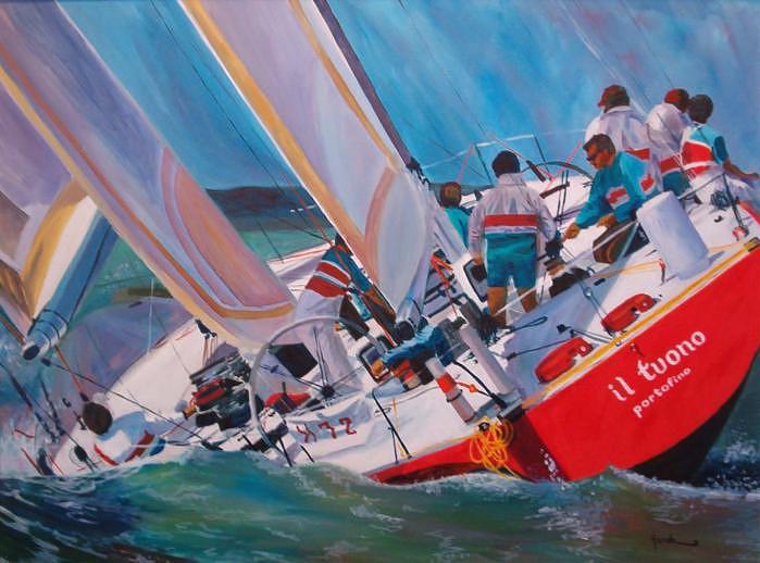 Sail Boat Painting - Sailing by Richard harsh