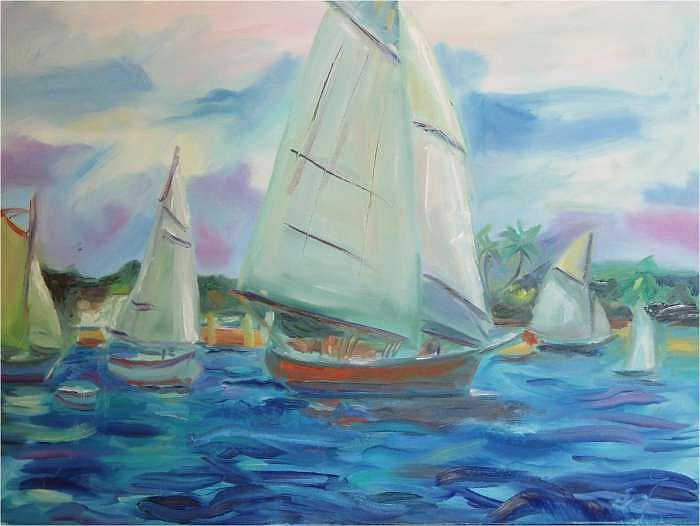 Sailing  Painting by Roseanne Williams