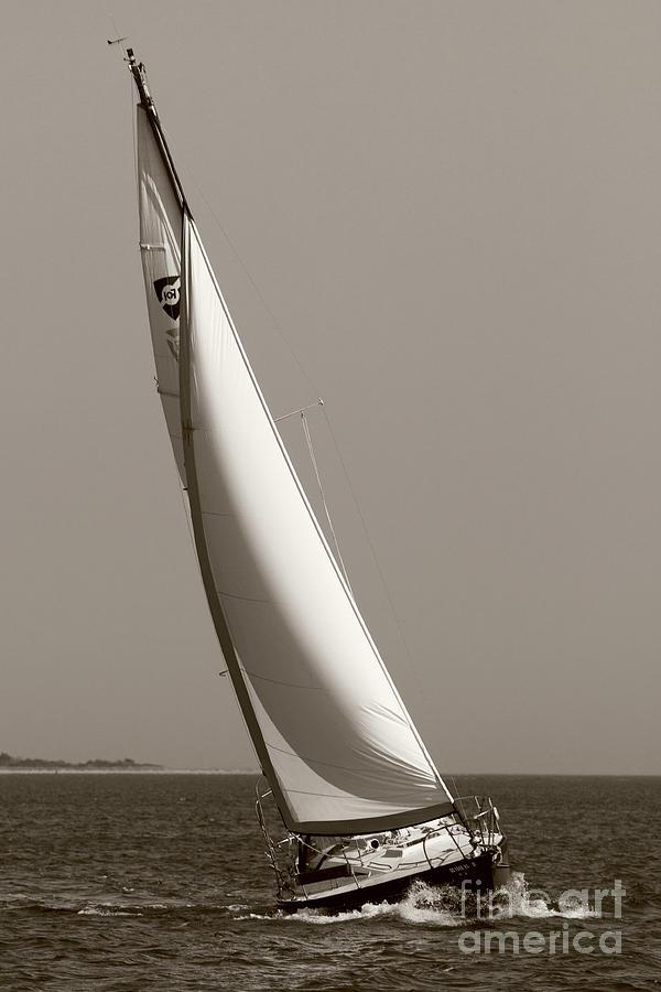 Sailboat Photograph - Sailing Sailboat Sloop Beating To Windward by Dustin K Ryan