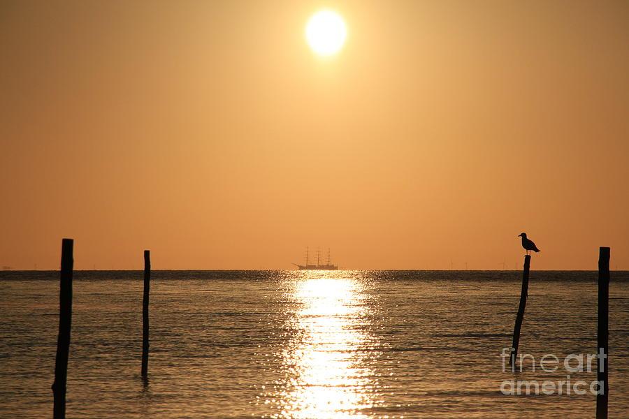 Sailing Ship In The Sunrise Photograph