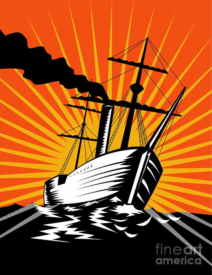 Sailing Ship Digital Art - Sailing Ship Retro Woodcut by Aloysius Patrimonio