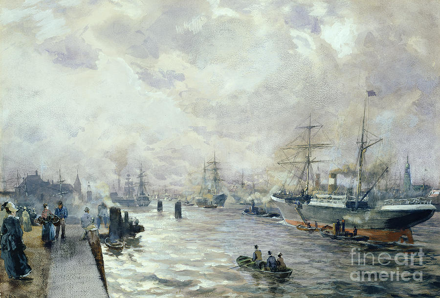 Sailing Painting - Sailing Ships In The Port Of Hamburg by Carl Rodeck