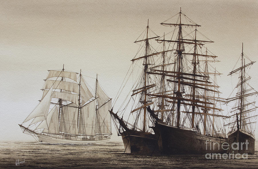 American Marine Artist Painting - Sailing Ships by James Williamson