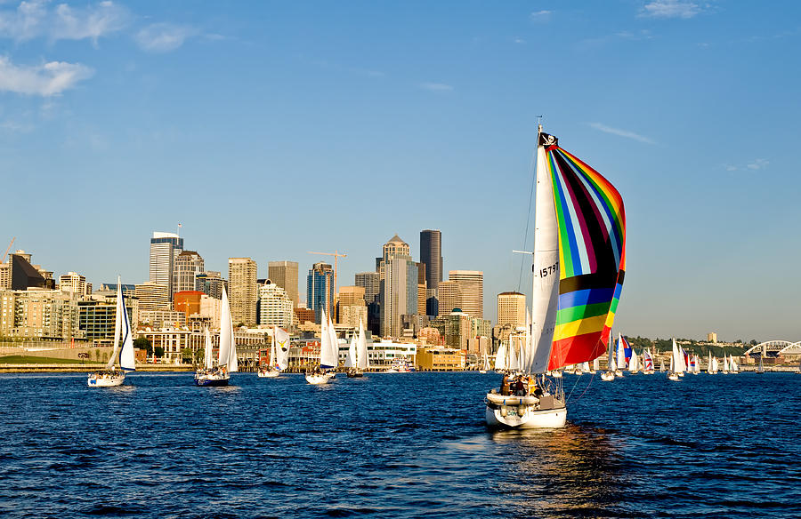 Seattle Photograph - Sailing Some Color To Seattle by Tom Dowd