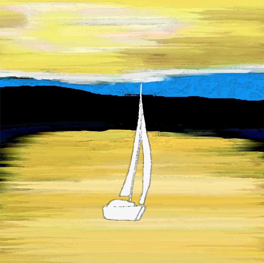 Ocean Painting - Sailing Sunset by Priscilla Wolfe