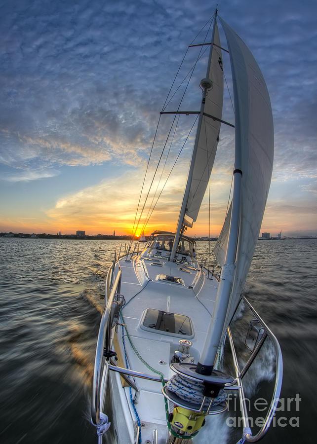 Sailing Sunset Sailboat Fate Charleston Photograph