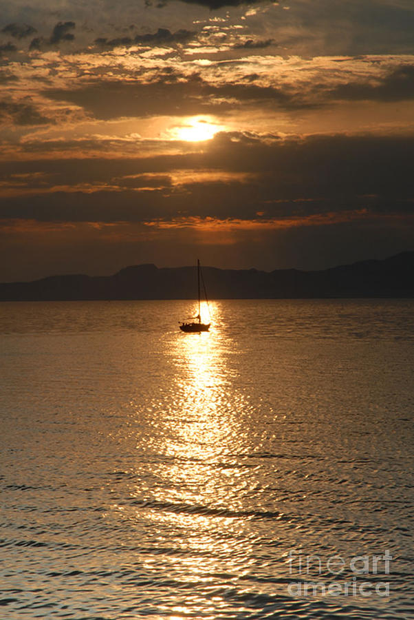 Great Salt Lake Photograph - Sailing The Great Salt Lake At Sunset by Dennis Hammer