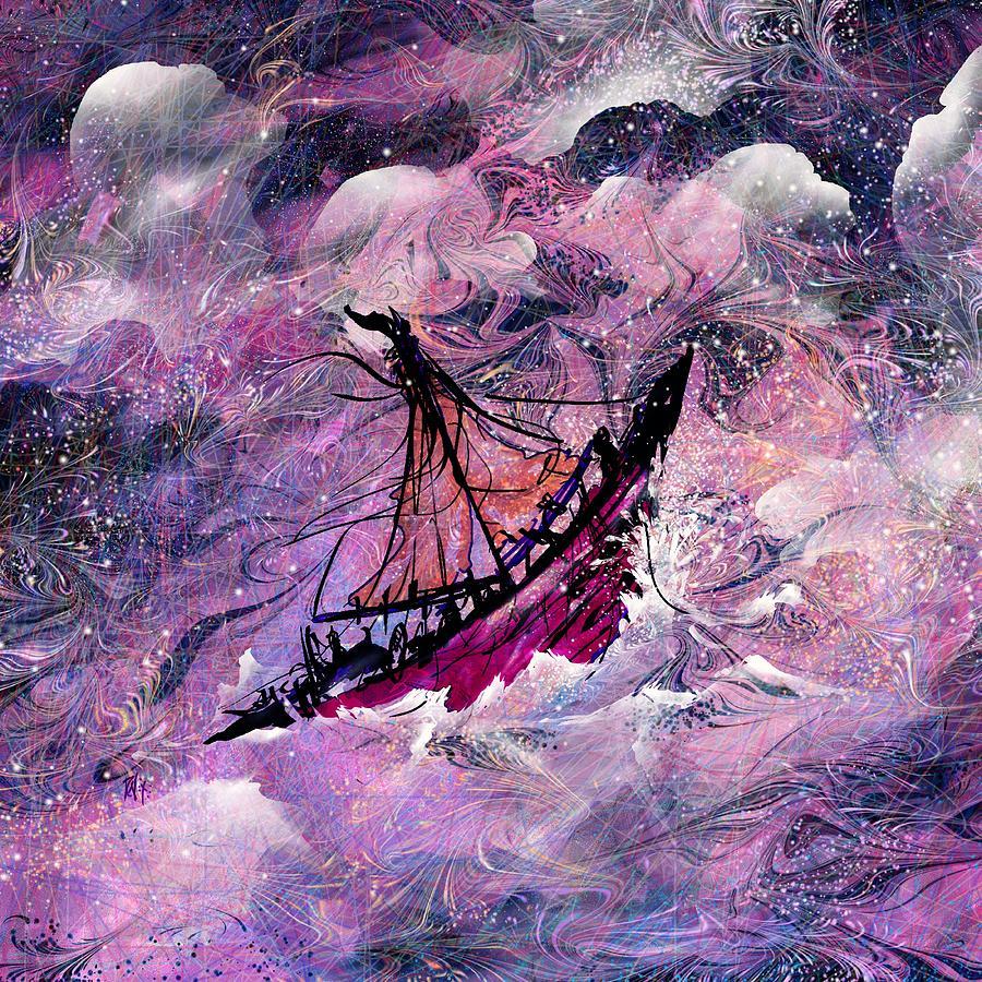 Abstract Digital Art - Sailing The Heavens by Rachel Christine Nowicki