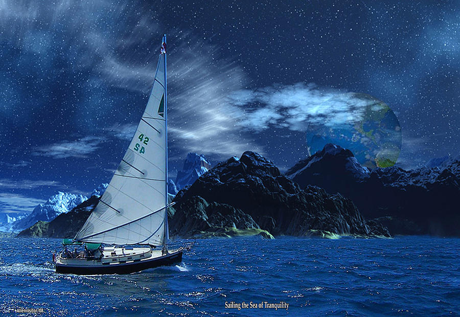 Sailing The Sea Of Tranquility Digital Art by David Jackson
