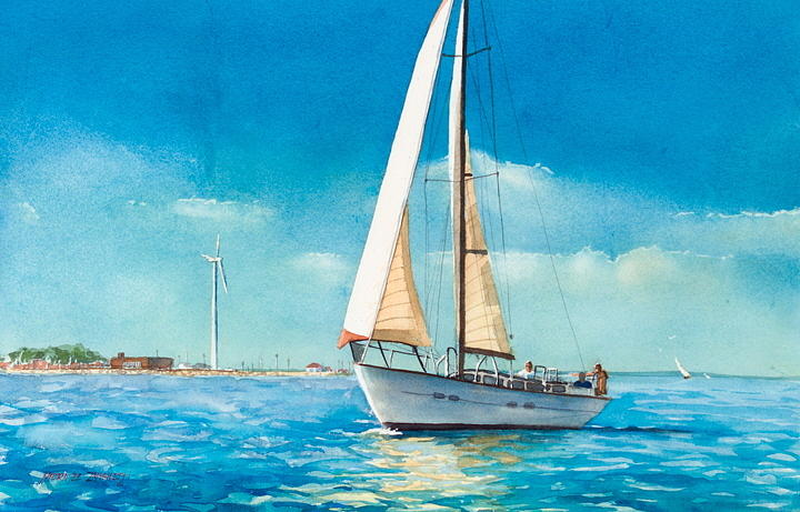 New England Painting - Sailing Through The Gut by Laura Lee Zanghetti
