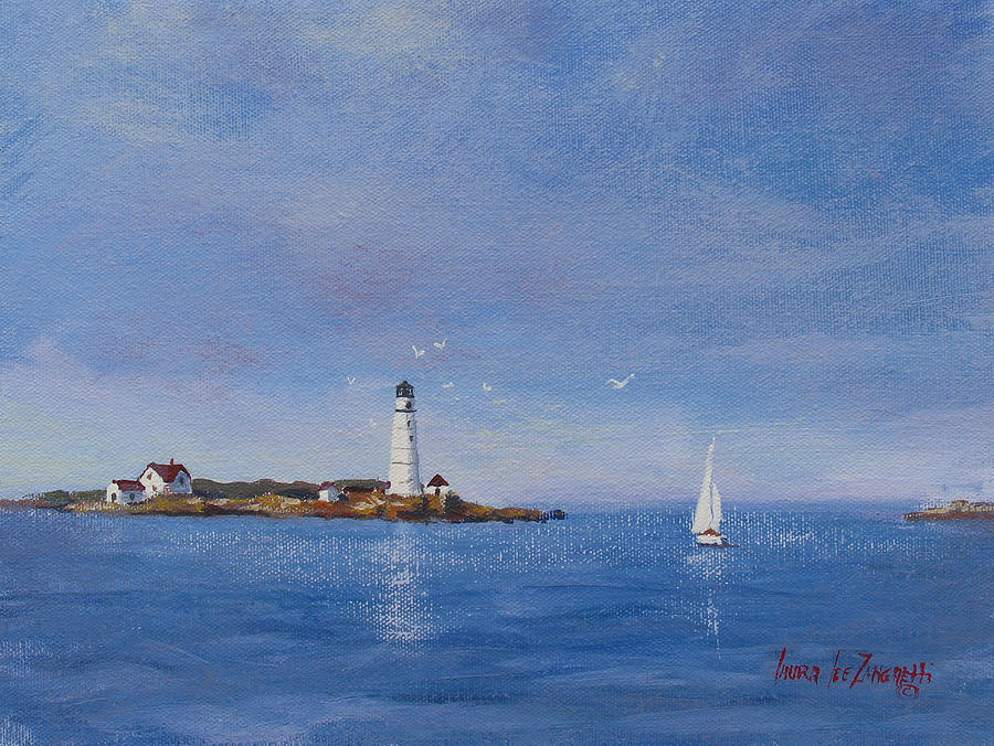 Seascape Painting - Sailing To Boston Light by Laura Lee Zanghetti