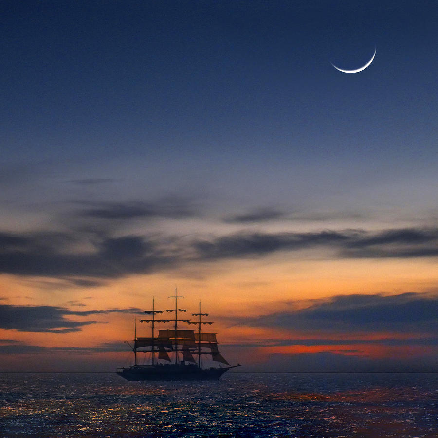 Sailing Photograph - Sailing To The Moon 2 by Mike McGlothlen