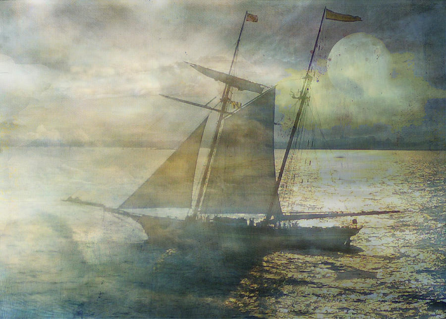 Yacht Digital Art - Sailing to the Moon by Sarah Vernon