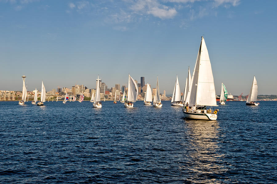 Seattle Photograph - Sailing To The Space Needle by Tom Dowd