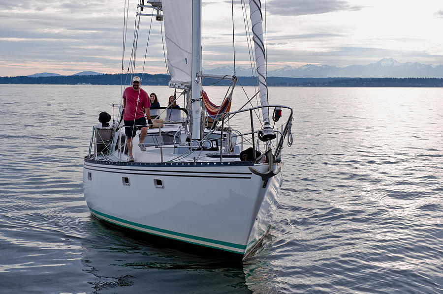 Seattle Photograph - Sailing Up by Tom Dowd