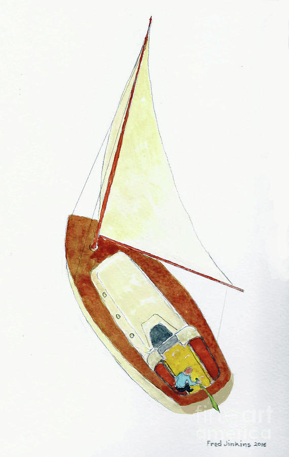 Watercolor Painting - Sailing Watercolor by Fred Jinkins