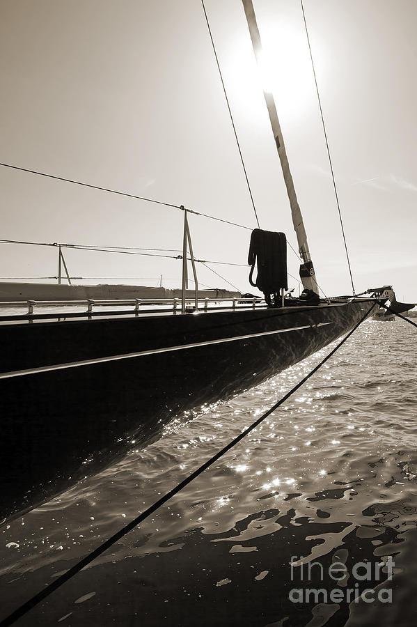 Superyacht Photograph - Sailing Yacht Hanuman J Boat Bow by Dustin K Ryan