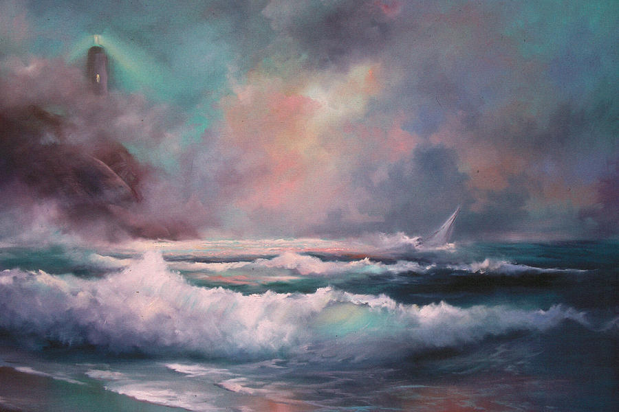 Storm Painting - Sailors Plight by Sally Seago