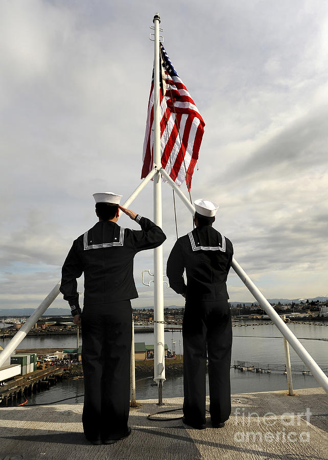 Us Navy Photograph - Sailors Raise The National Ensign by Stocktrek Images