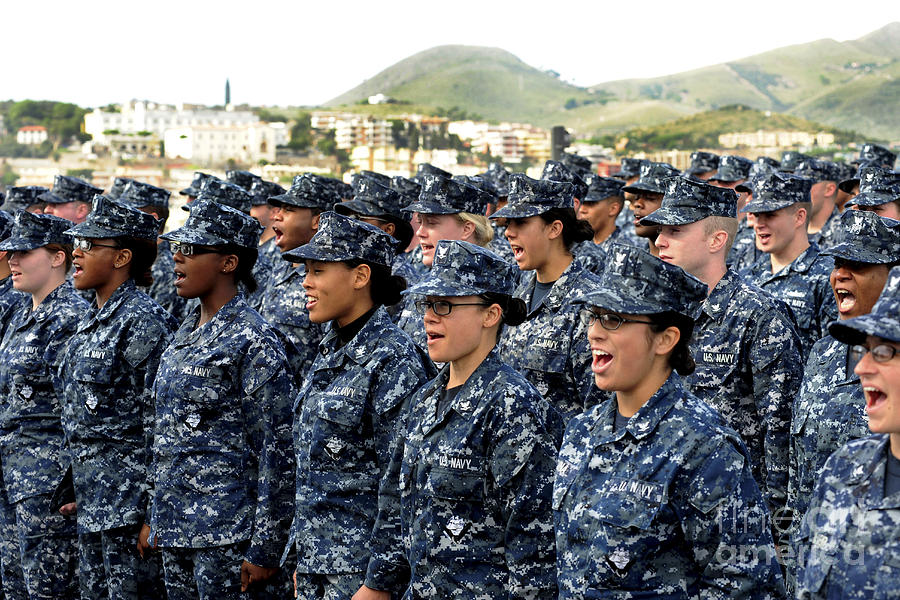 Ethnicity Photograph - Sailors Yell Before An All-hands Call by Stocktrek Images