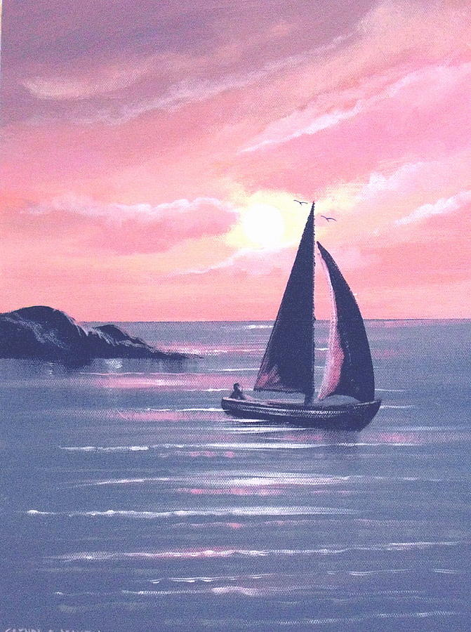 Sunset Painting - Sails In The Sunset by Cathal O malley