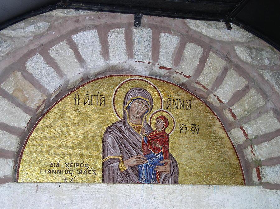 Mosaic Painting - Saint Anna In  Mount Athos  - Mosaic by Alexandros Giannios