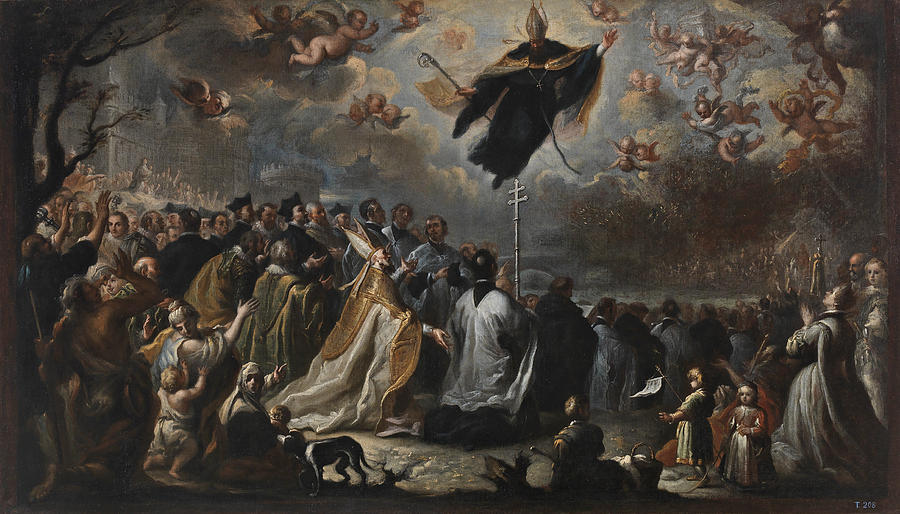 Saint Augustine Vanquishing The Plague Of Locusts Painting By