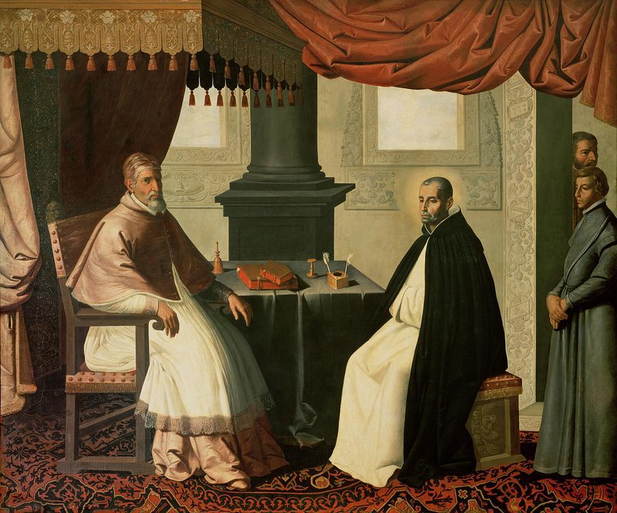 Bruno Painting - Saint Bruno And Pope Urban II by Francisco de Zurbaran