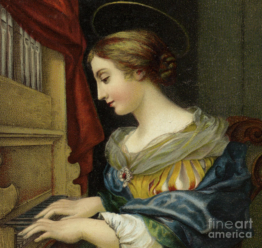 St Cecilia Painting - Saint Cecilia Playing The Organ by Carlo Dolci