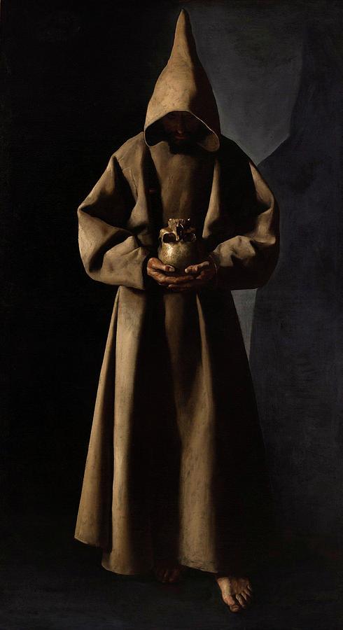 Saint Francis Painting - Saint Francis of Assisi in His Tomb by Francisco de Zurbaran