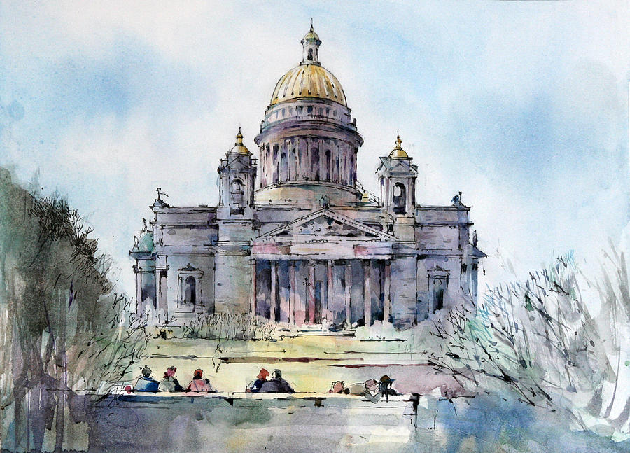 Architecture Painting - Saint Isaacs Cathedral - Saint Petersburg - Russia  by Natalia Eremeyeva Duarte