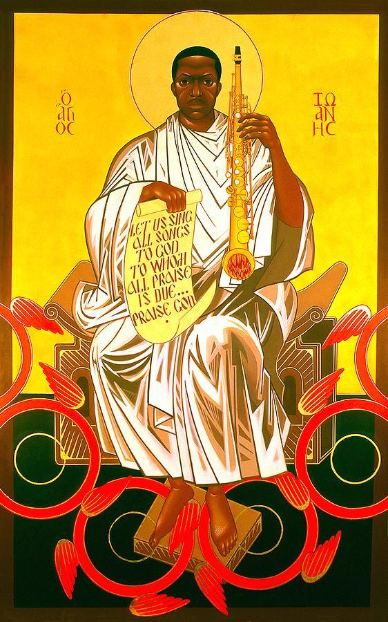 Saint John Coltrane Enthroned Painting by Mark Dukes