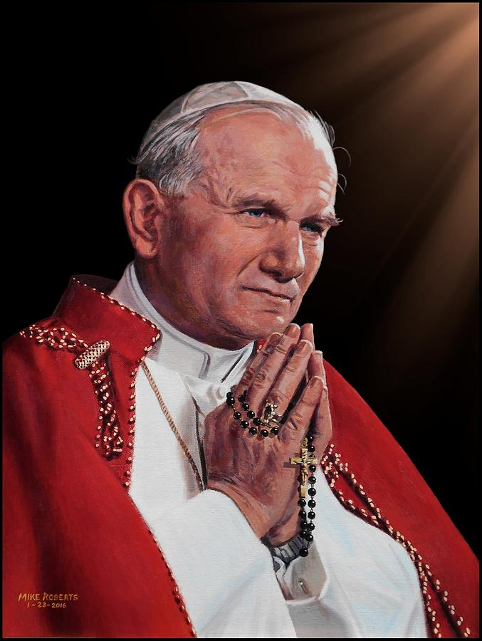 Saint John Paul II Painting by Mike Roberts
