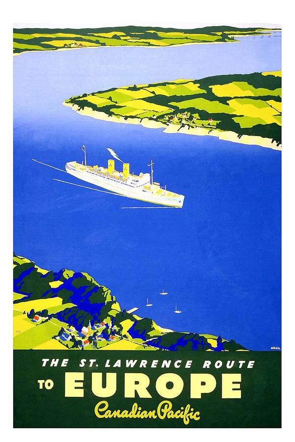 Saint Lawrence River - Ocean Liners - Canadian Pacific - Retro Travel Poster - Vintage Poster Mixed Media