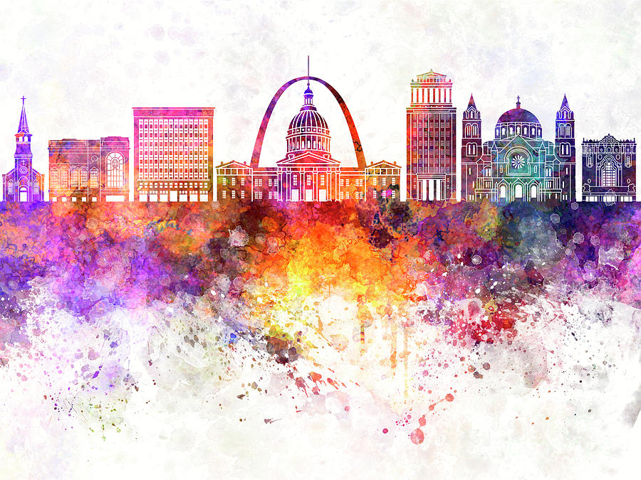 Saint Louis Skyline In Watercolor Background Painting By