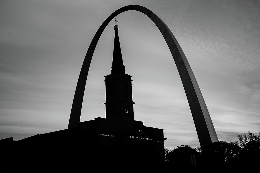 America Photograph - Saint Louis Skyline Silhouettes - Black And White - Usa by Gregory Ballos