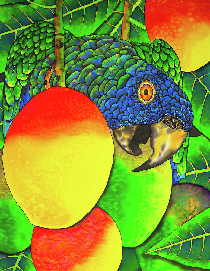 Exotic Bird Painting - Saint Lucia Parrot With Mangos by Daniel Jean-Baptiste