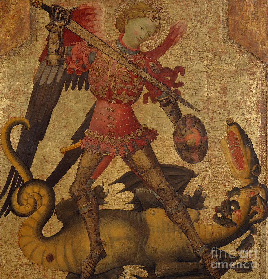 St Painting - Saint Michael And The Dragon by Spanish School