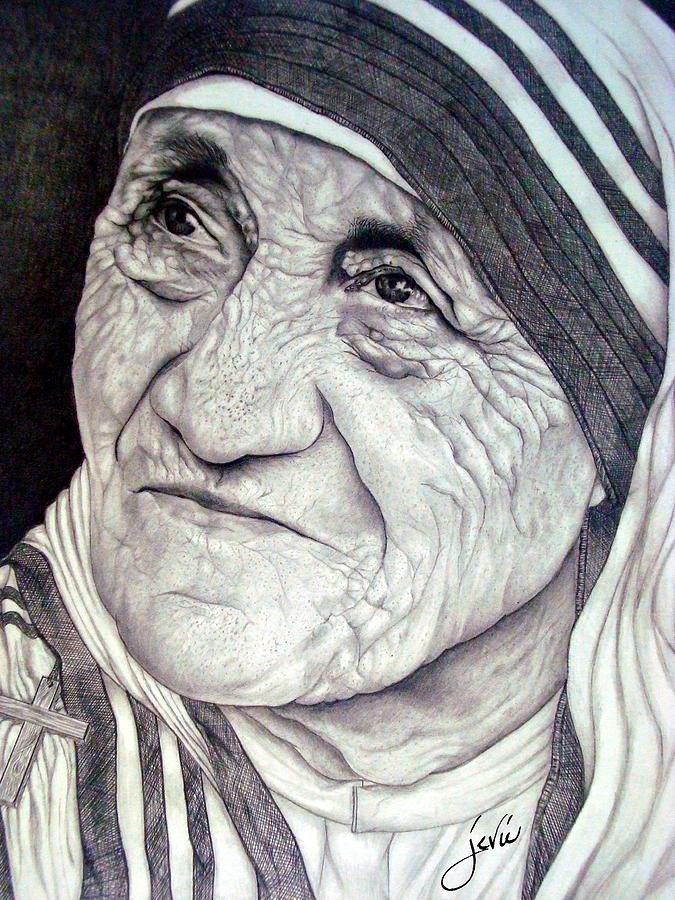 Mother Teresa Drawing - Mother Teresa Saint Of Calcutta  by Jevie Stegner