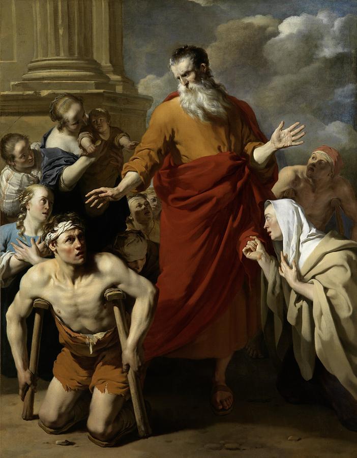Karel Dujardin Painting - Saint Paul Healing The Cripple At Lystra by Karel Dujardin